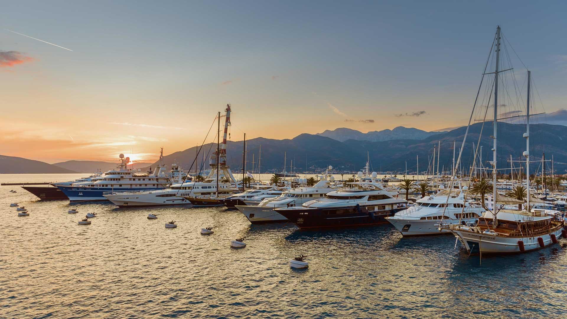 Porto Montenegro marina at dusk
