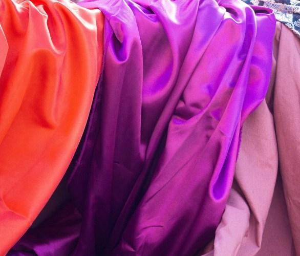 Red and violet silk scarves